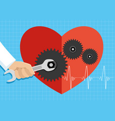 Cardiologist heals the heart vector