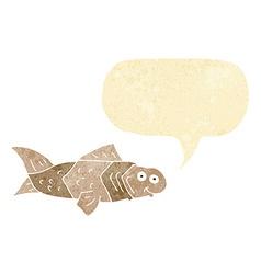 Cartoon funny fish with speech bubble vector