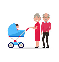 cartoon grandparents with a pram a toddler vector image