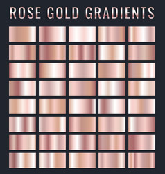 collection rose gold metallic gradient vector image
