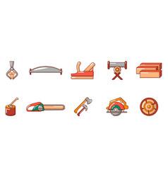 cut wood tool icon set cartoon style vector image