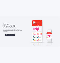 Different ui ux gui screens fitness app vector