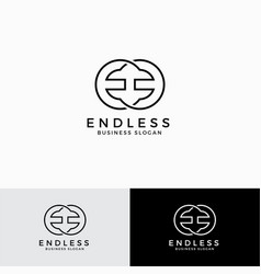 endless - stylish mirrored letter e logo template vector image