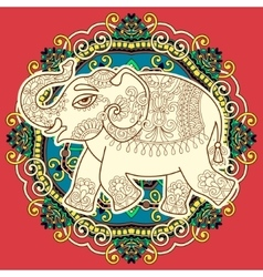 ethnic indian elephant pattern drawing on circle vector image vector image
