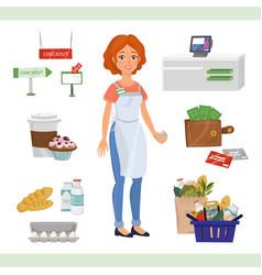 european woman as cashier counter vector image