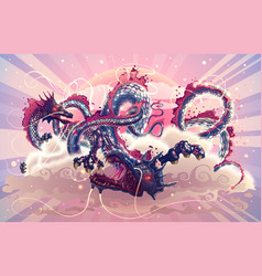 Fantasy japanese dragons in magic sky with clouds vector