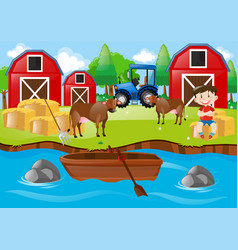 Farm scene with boy and bulls by the stream vector