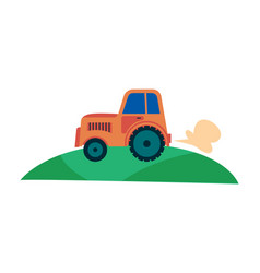 farmers agricultural tractor on field flat cartoon vector image