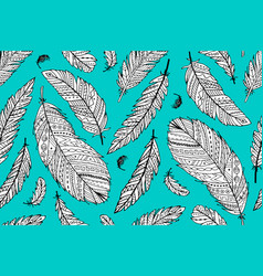 Feather seamless pattern for your design vector