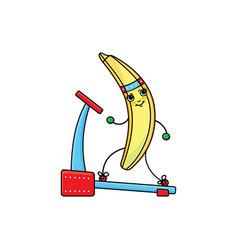 Flat sketch banana running on treadmill vector