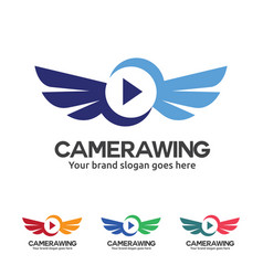 fly camera logo camera with wing and play button vector image