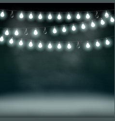Garlands with bulbs on a dark background glowing vector
