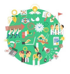 Global green business concept icon vector
