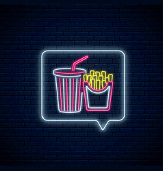 glowing neon sign french fries and soda drink vector image
