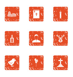 Grave icons set grunge style vector