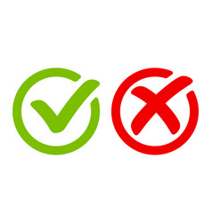 Green tick symbol and red cross sign in circle vector