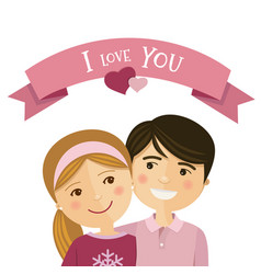 happy couple in love and embracing each other vector image