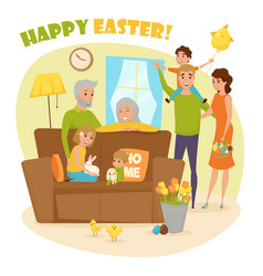 Happy family easter composition vector