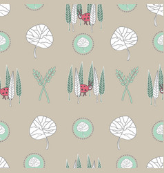 hiding beetle -nature spirit seamless repeat vector image