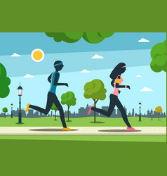 jogging in city park man and woman running vector image