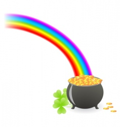 leprechaun treasure cauldron vector image