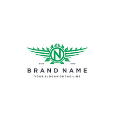 Letter n leaf wing logo design concept vector