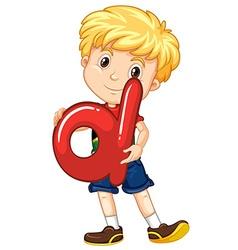 Little boy holding letter D vector image