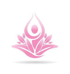 Lotus yoga person spiritual logo vector
