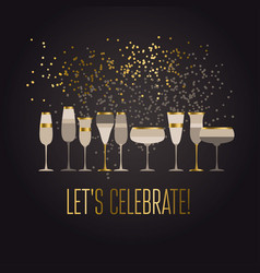 luxury black and gold sparkling champagne vector image