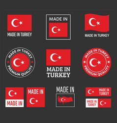 made in turkey icon set product labels the vector image