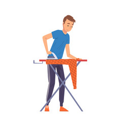 Man ironing clothes on iron board household vector