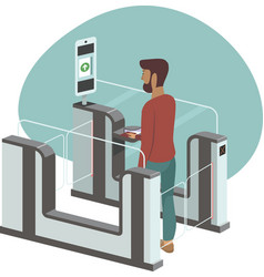 Man passing through automated gates vector