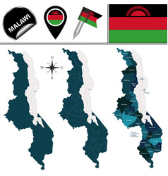 map of malawi with named districts vector image