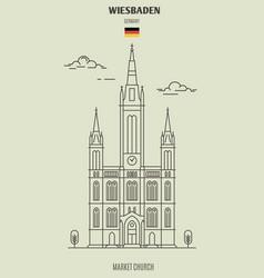 Market church in wiesbaden vector