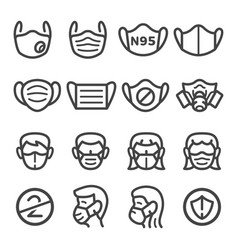 Mask line icon set vector