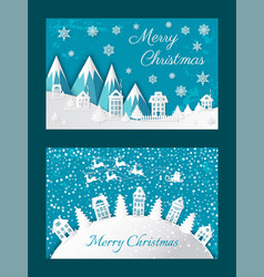 merry christmas postcard buildings mountain vector image