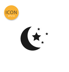 moon and stars icon isolated flat style vector image