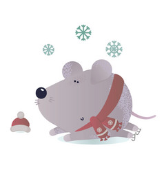 new year and winter rat character vector image