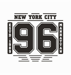 new york manhattan typography t-shirt graphics vector image
