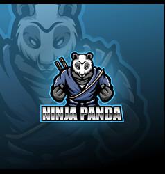 Ninja panda esport mascot logo vector