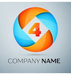 Number four logo symbol in the colorful circle tem vector image