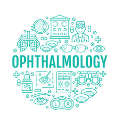 ophthalmology eyes health care circle porter with vector image