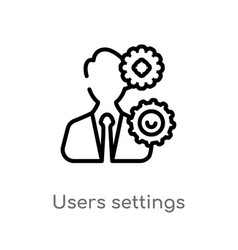 Outline users settings icon isolated black simple vector
