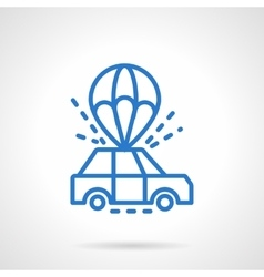Parachute car delivery blue line icon vector