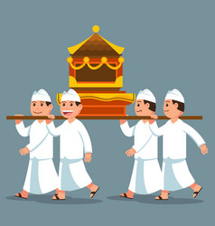 Parade bali men carry sacred object on shoulder vector