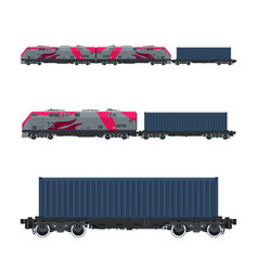 Pink locomotive with cargo container vector