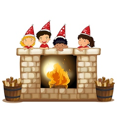 Playful kids at the fireplace vector image