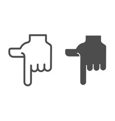 Pointing down hand line and glyph icon direction vector