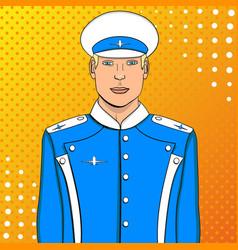 pop art flyer man in blue uniform imitation comic vector image