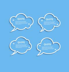 Quote outline cloud speech bubbles set vector